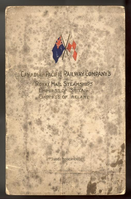 Passenger list, Empress of Ireland, Canadian Pacific. card