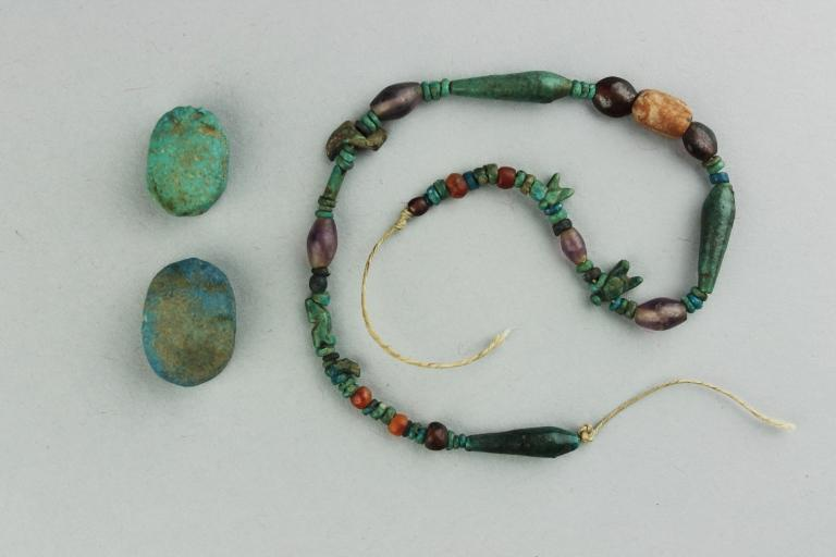 String of Beads and Two Scarabs card