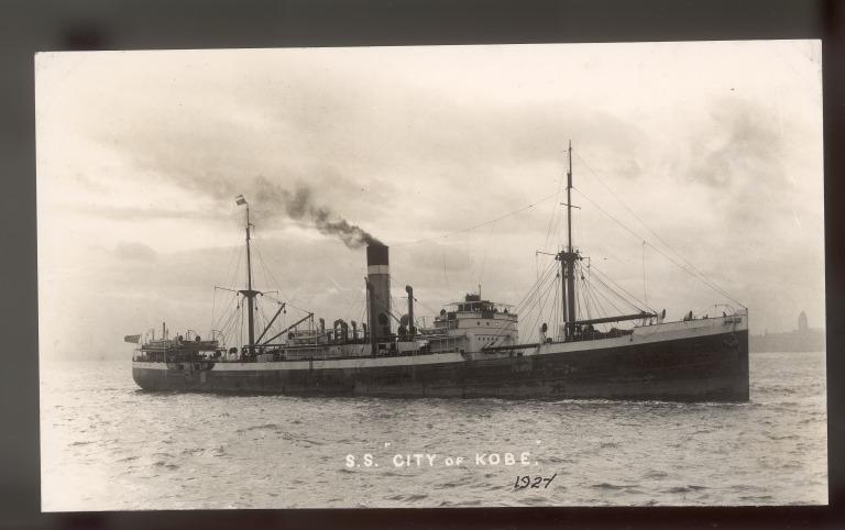 Photograph of City of Kobe (ex Malvernian), Ellerman Line card