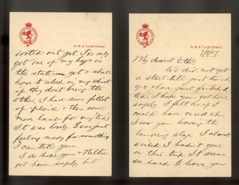 Letter from Cecil R Minnitt to Miss E Poole written from Lusitania on its maiden voyage. card