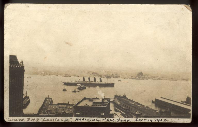 Postcard of Lusitania arriving at New York card