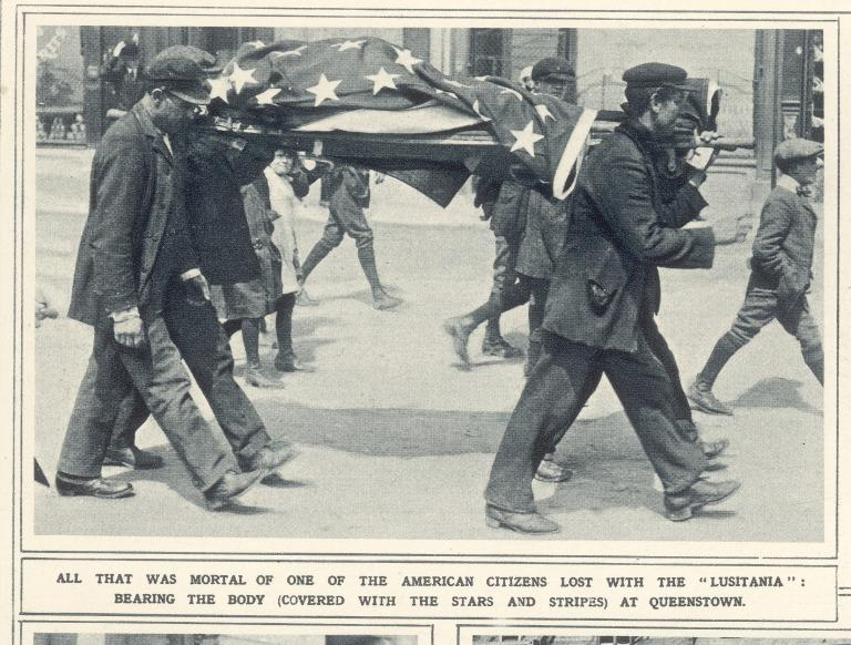 Copies of pages from the Illustrated London News, regarding the sinking of Lusitania card