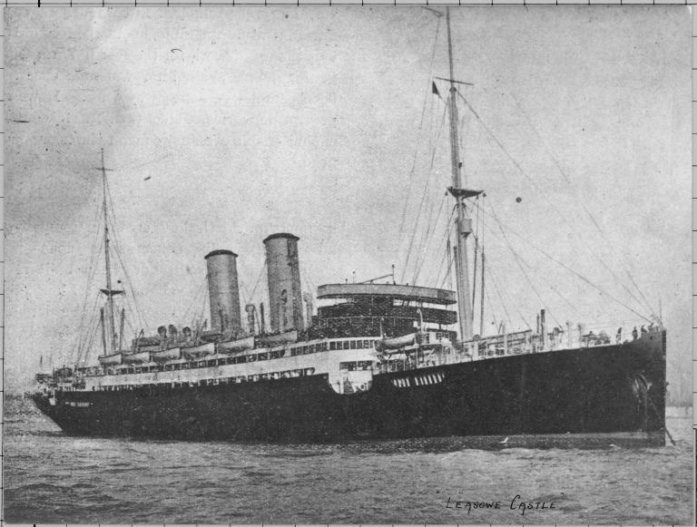 Photograph of Leasowe Castle (ex Vasilissa Sophia), Union Castle Line card