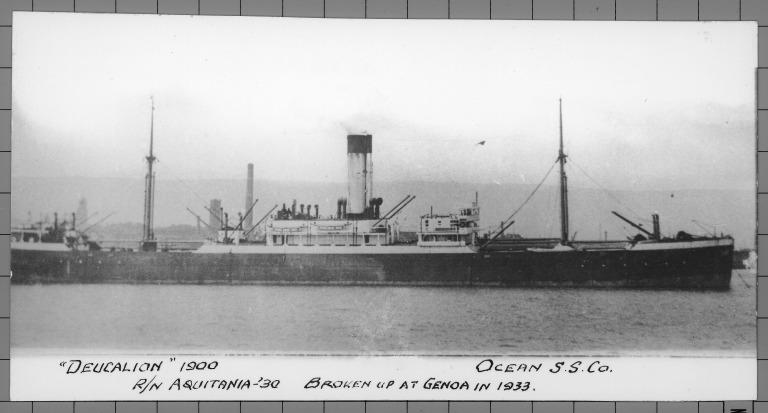 Photograph of Deucalion (R/n Aqitania 1930), Alfred Holt card