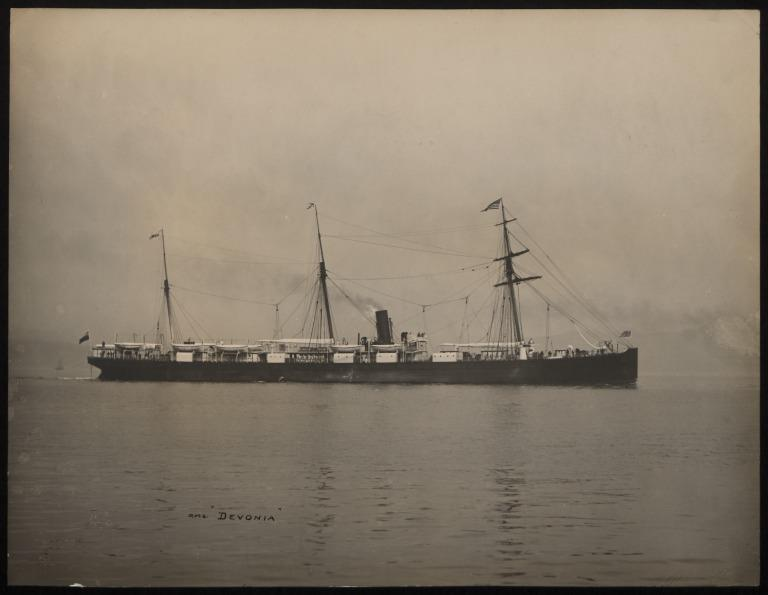 Photograph of Devonia, Anchor Line card