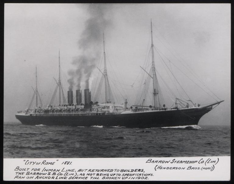Photograph of City of Rome, Anchor Line card
