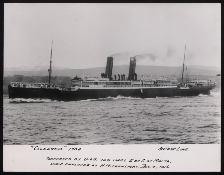 Photograph of Caledonia, Anchor Line card