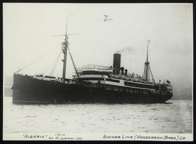 Photograph of Algeria (ex Kigoma), Anchor Line card