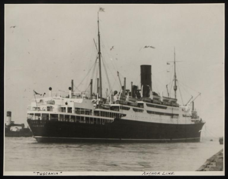 Photograph of Tuscania, Anchor Line card