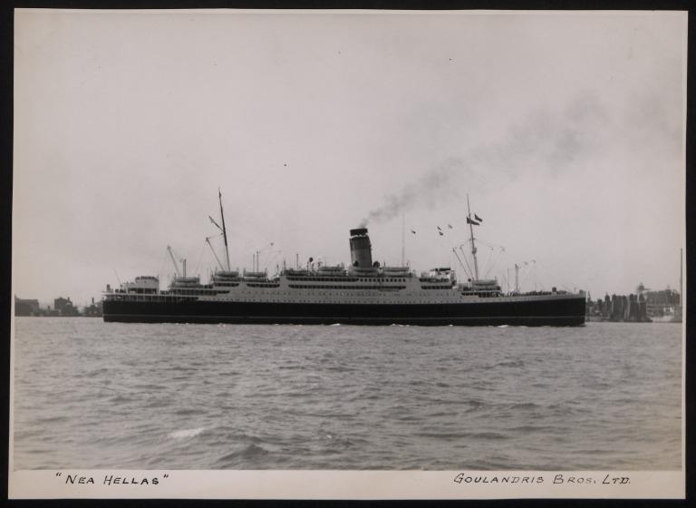 Photograph of Nea Hellas, Anchor Line card