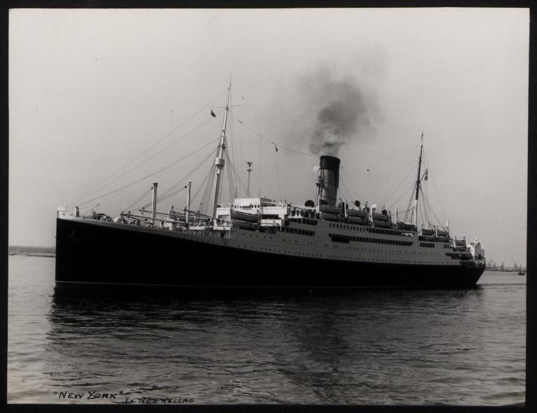 Photograph of New York (ex Nea Hellas), Anchor Line card