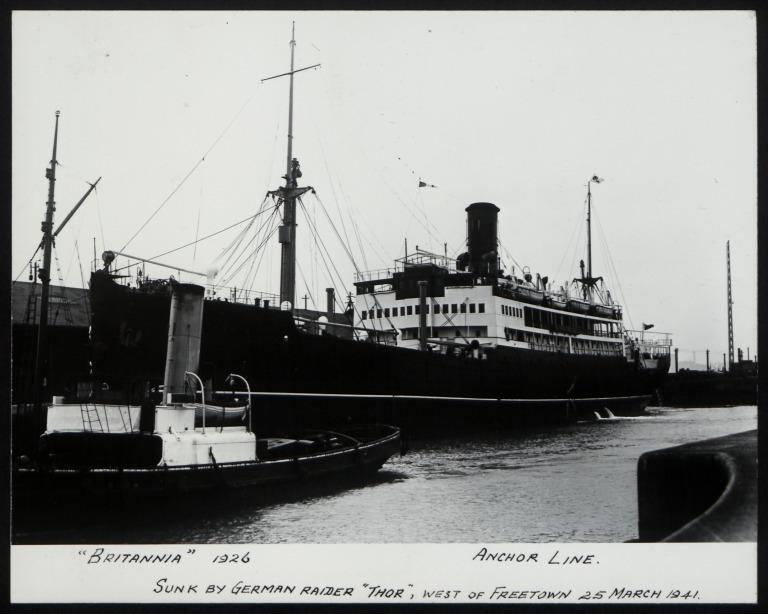 Photograph of Britannia, Anchor Line card