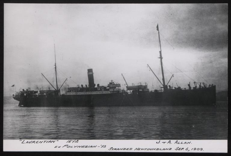 Photograph of Laurentian, Allan Line card