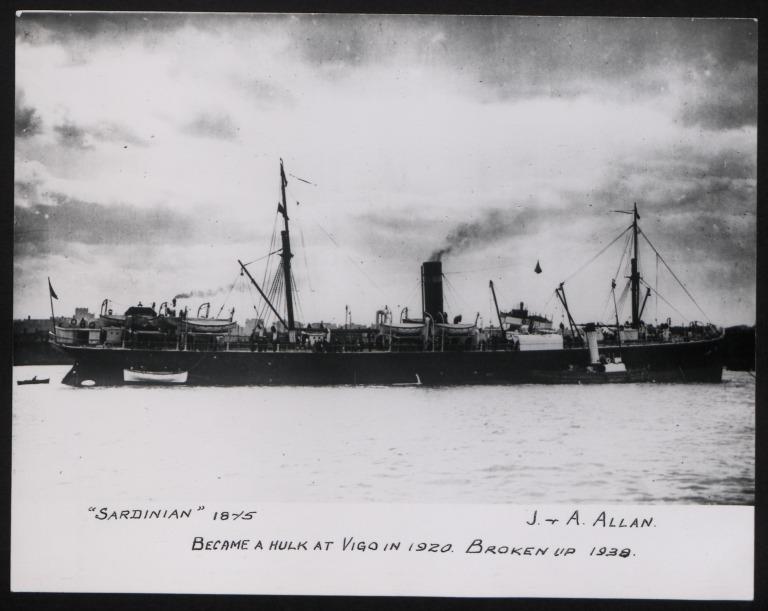 Photograph of Sardinian, Allan Line card