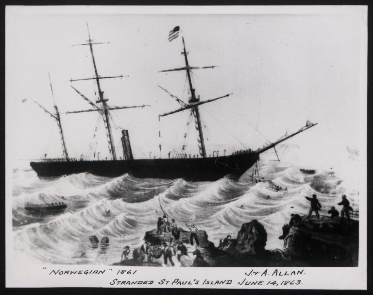 Photograph of Norwegian, Allan Line card
