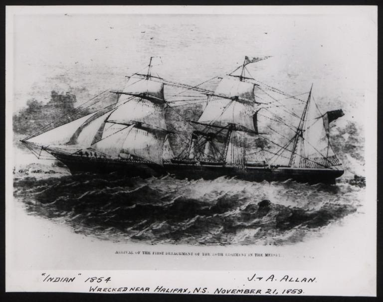 Photograph of Indian, Allan Line card