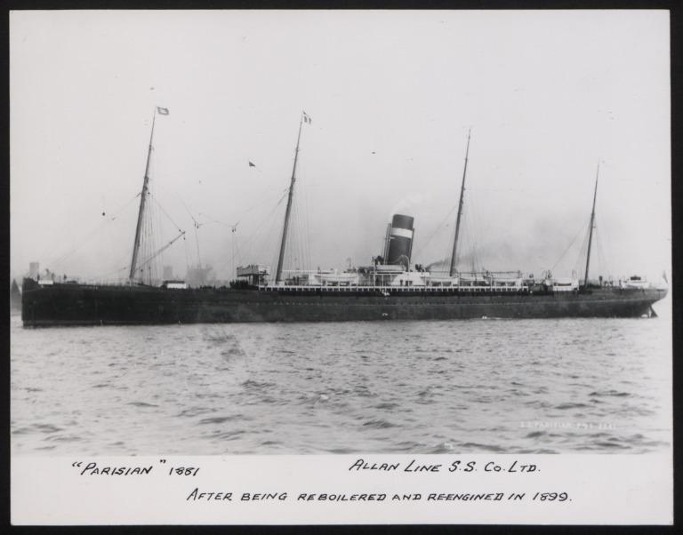 Photograph of Parisian, Allan Line card