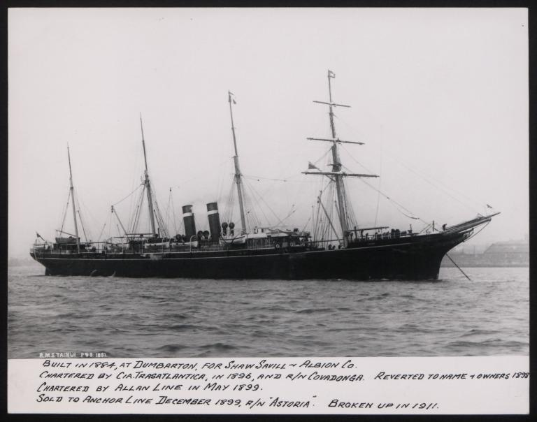 Photograph of Tainui, Allan Line card