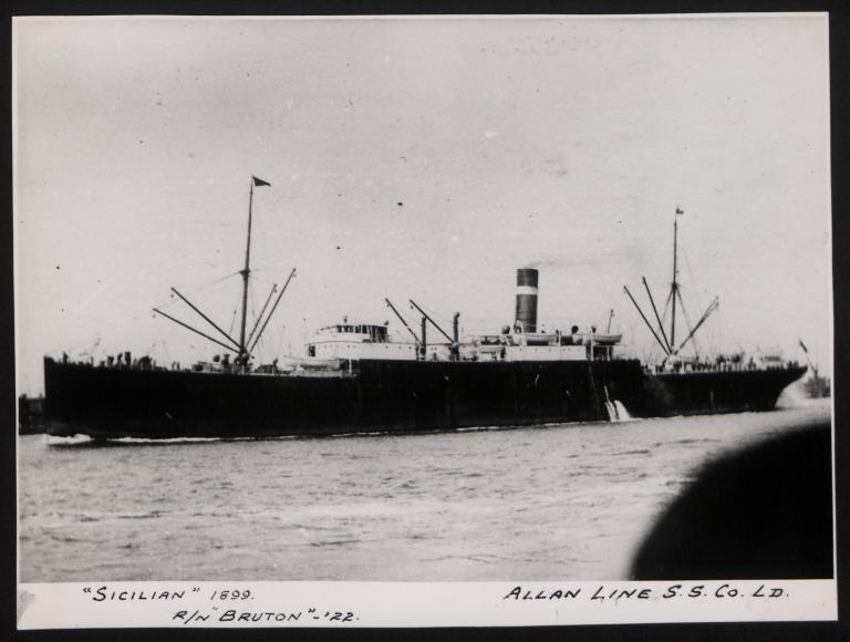 Photograph of Sicilian, Allan Line card