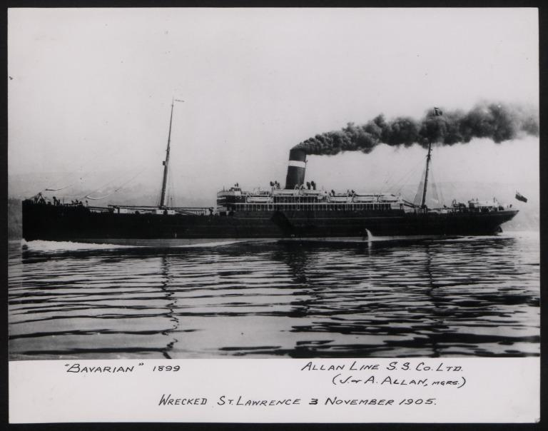 Photograph of Bavarian, Allan Line card