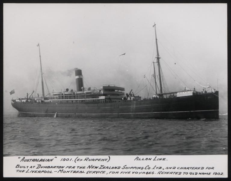 Photograph of Australasian, Allan Line card