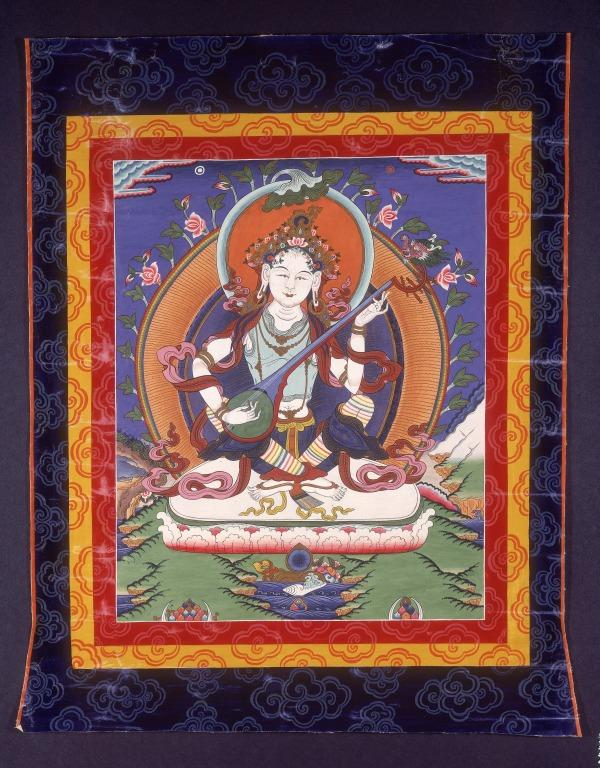 Thangka of Saraswati or yang chen ma card