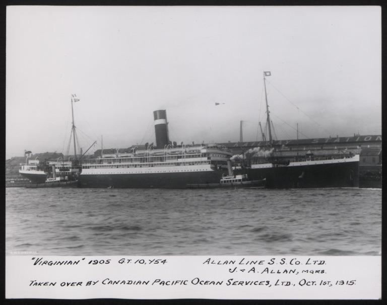 Photograph of Virginian, Allan Line card