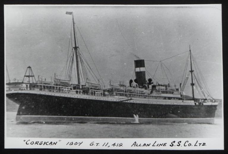 Photograph of Corsican, Allan Line card