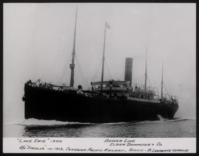Photograph of Lake Erie (r/n Tyrloia,1913), Beaver Line card