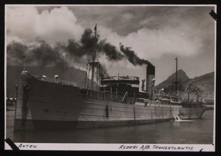 Photograph of Anten, Rederi A/B Transatlantic G Carlsson card