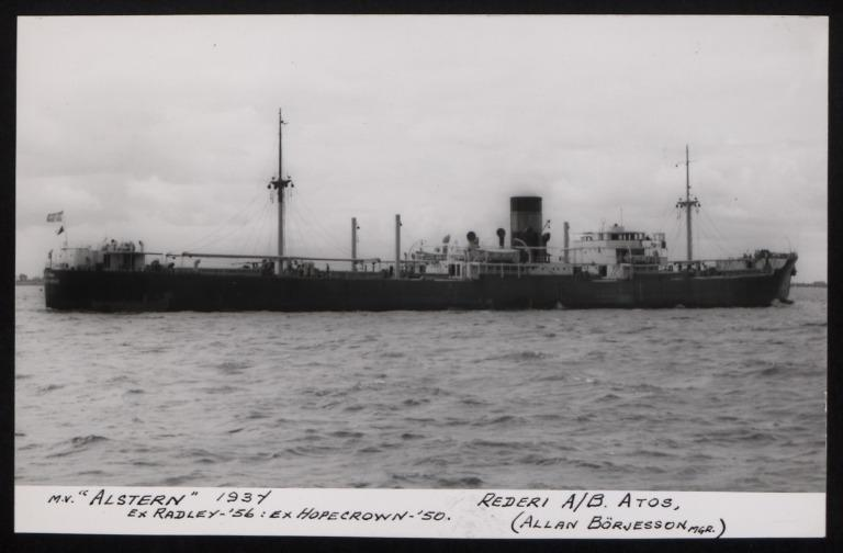 Photograph of Alstern (ex Radley, ex Hopecrown), Rederi A/B Atos card