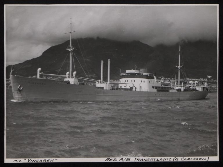 Photograph of Vingaren, Rederi A/B Transatlantic G Carlsson card
