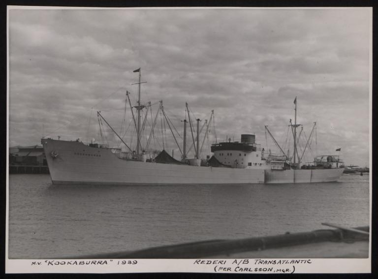 Photograph of Kookaburra, Rederi A/B Transatlantic G Carlsson card