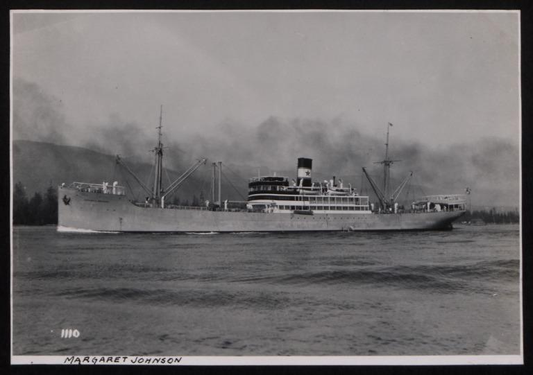 Photograph of Margaret Johnson, Rederi A/B Nordstjernan card