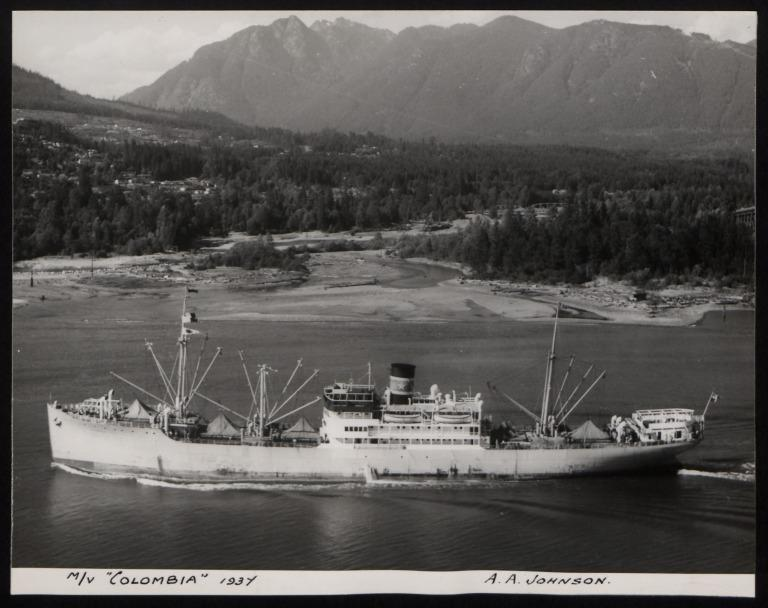 Photograph of Colombia, Johnson Line card