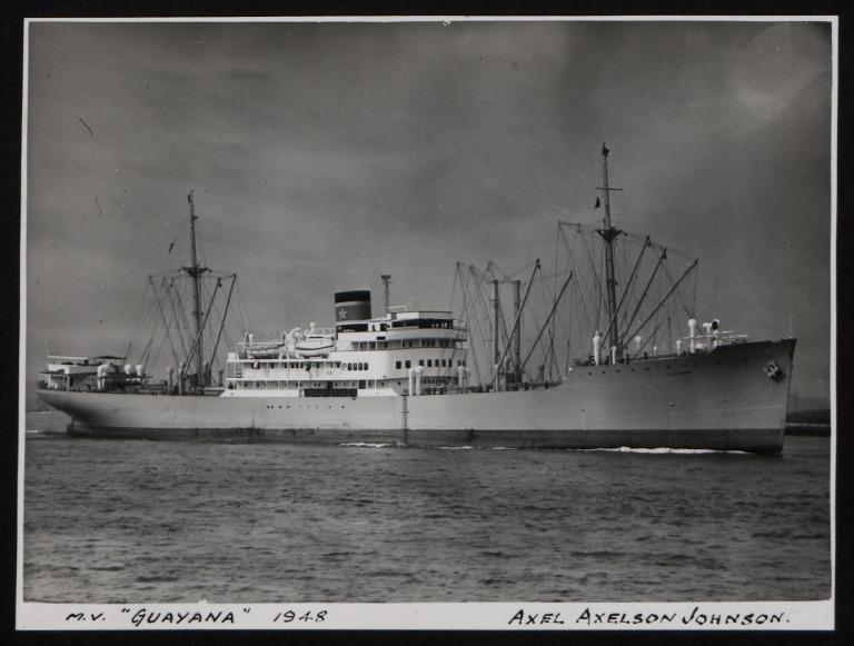 Photograph of Guayana, Johnson Line card