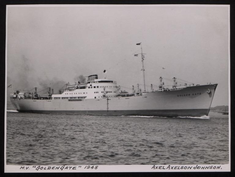 Photograph of Golden Gate, Johnson Line card