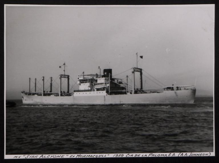 Photograph of Star Alcyone (ex Mormacgull), Johnson Line card