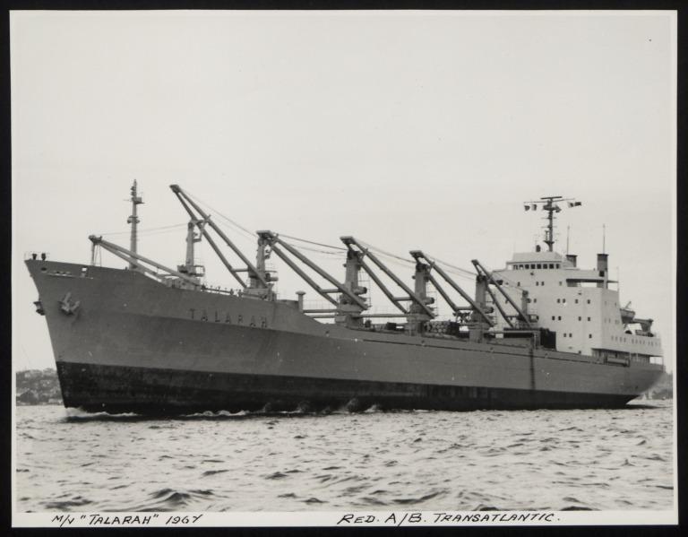Photograph of Talarah, Rederi A/B Transatlantic G Carlsson card
