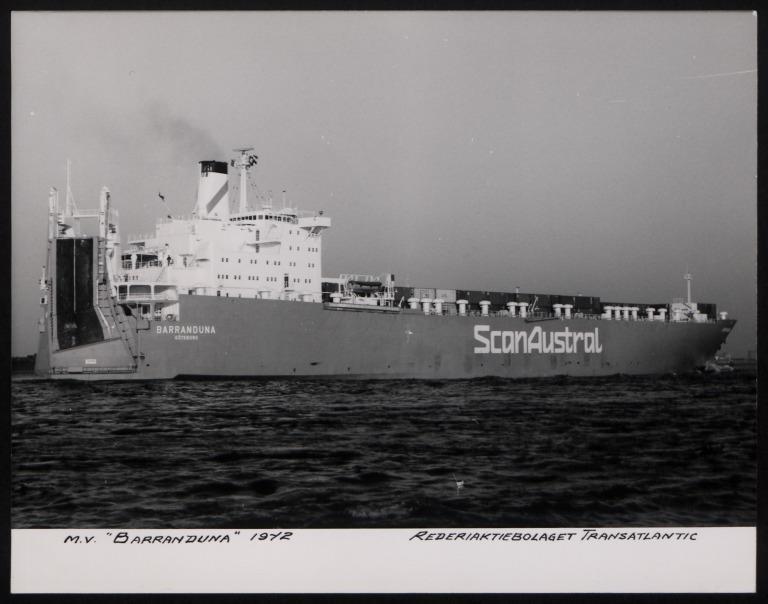 Photograph of Barranduna, Rederiaktiebolaget Transatlantic card
