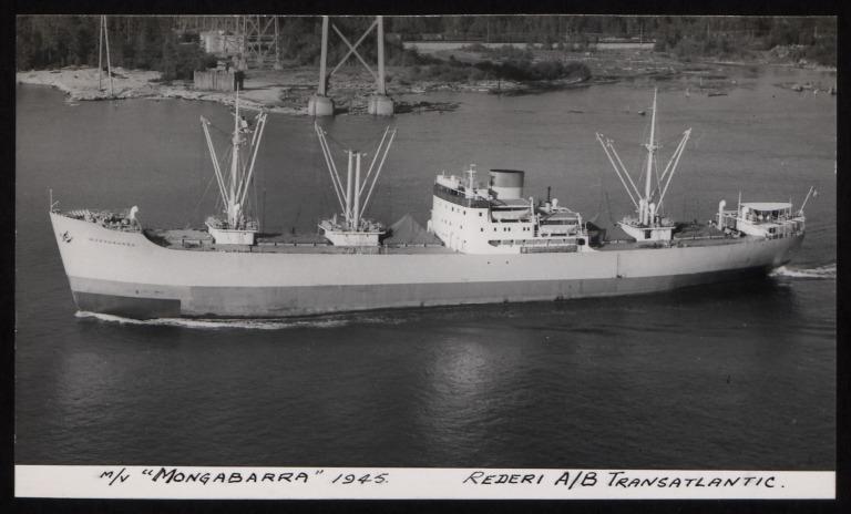 Photograph of Mongabarra, Rederi A/B Transatlantic G Carlsson card
