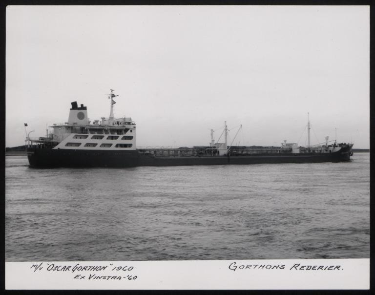 Photograph of Oscar Gorthon (ex Vinstra 1960), Gorthons Rederier card
