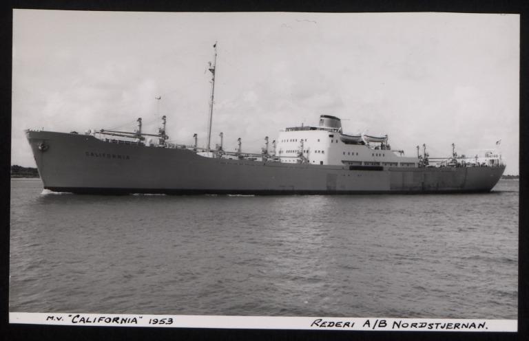 Photograph of California, Rederi A/B Nordstjernan card