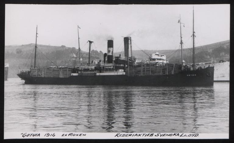 Photograph of Gothia (ex Roxen), Swedish Lloyd card