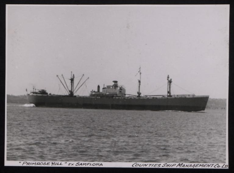 Photograph of Primrose Hill (ex Samflora), Counties Ship Management Company card