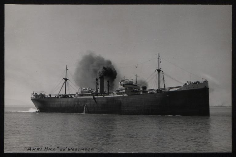 Photograph of Akri Hill (ex Westmoor), Counties Ship Management Company card