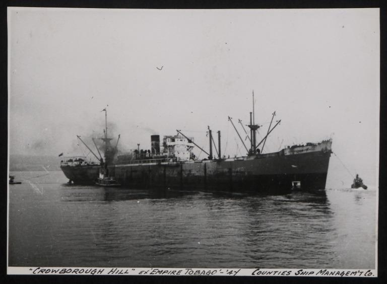 Photograph of Crowborough Hill (ex Empire Tobago), Counties Ship Management Company card