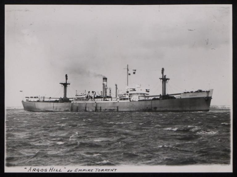 Photograph of Argos Hill (ex Empire Torrent), Counties Ship Management Company card