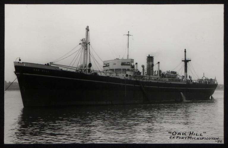 Photograph of Oak Hill, Counties Ship Management Company card