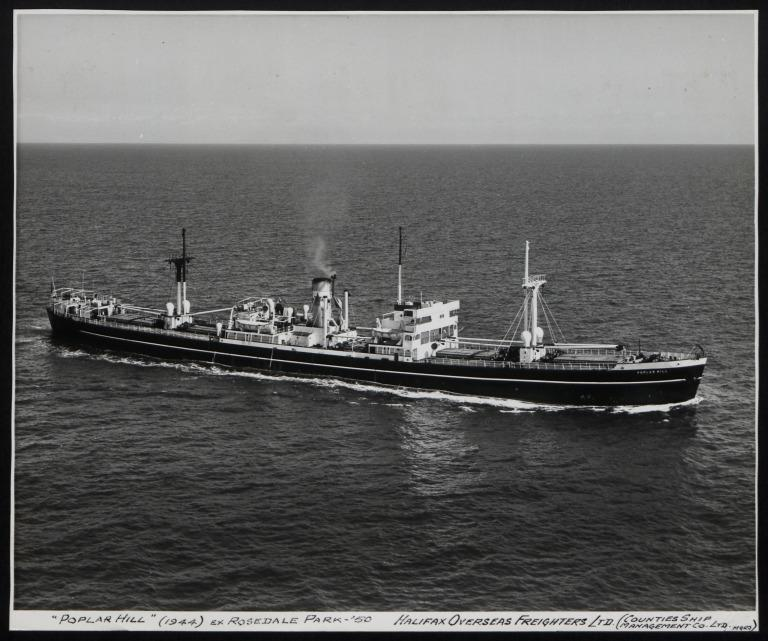 Photograph of Poplar Hill (ex Rosedale Park), Counties Ship Management Company card